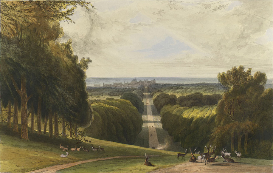 This hand-coloured aquatint from 1862 shows the view down the Long Walk towards the Castle much as it would have been during Charles II's reign.