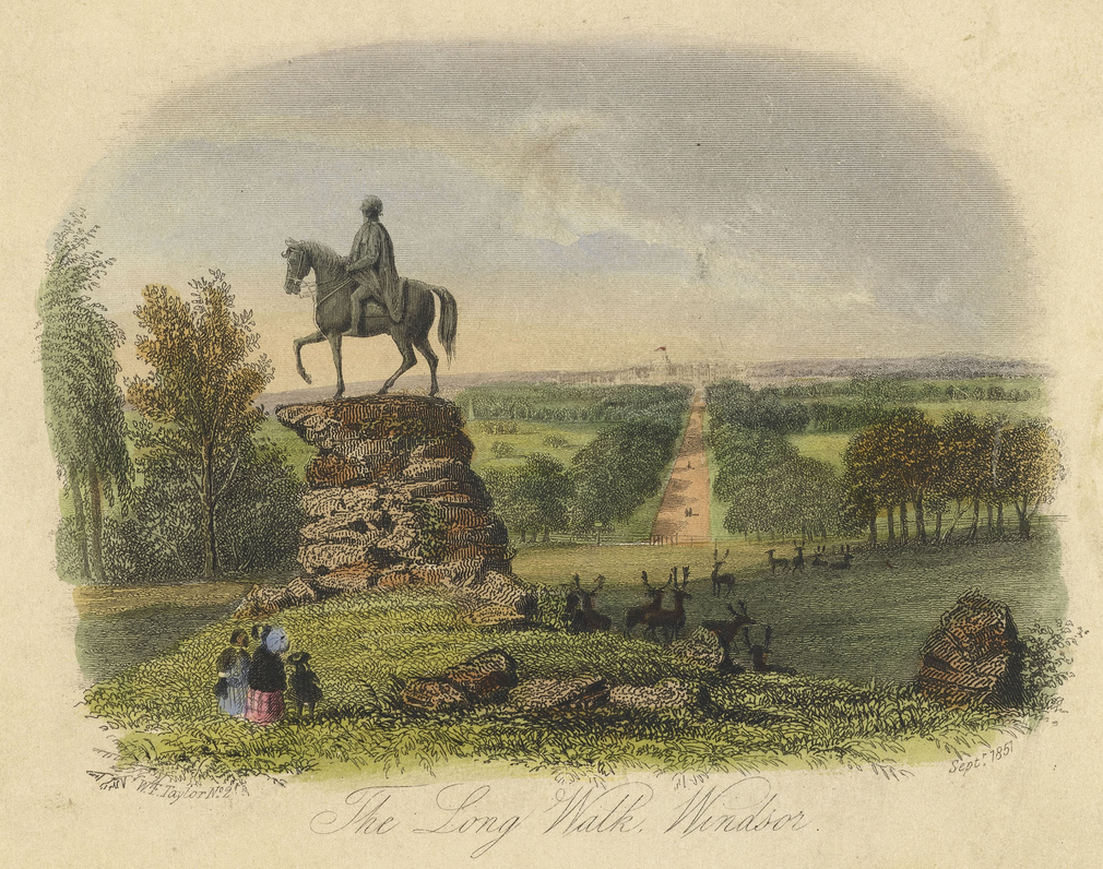 An illustration from 1857 depicting the statue of George III, commissioned by George IV for the southern end of the Long Walk.