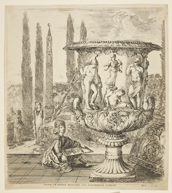 Drawing of a monumental carved urn