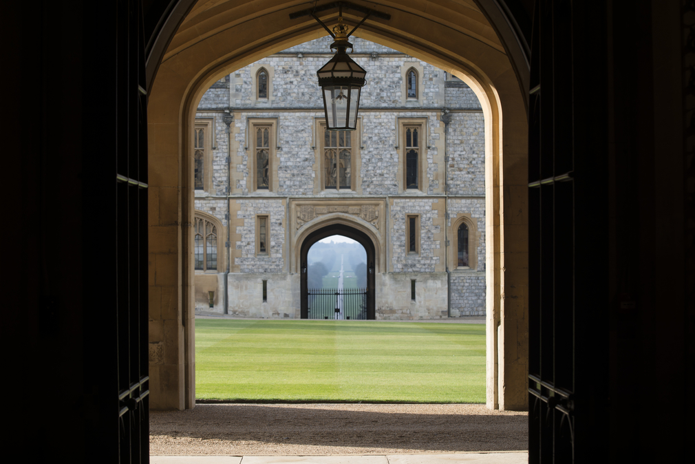 The view of the Long Walk from the State Entrance at Windsor Castle