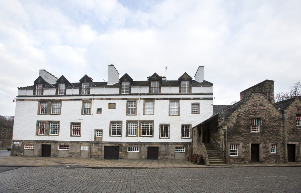 The Abbey Strand buildings at the Palace of Holyroodhouse. The oldest section dates from around 1490.