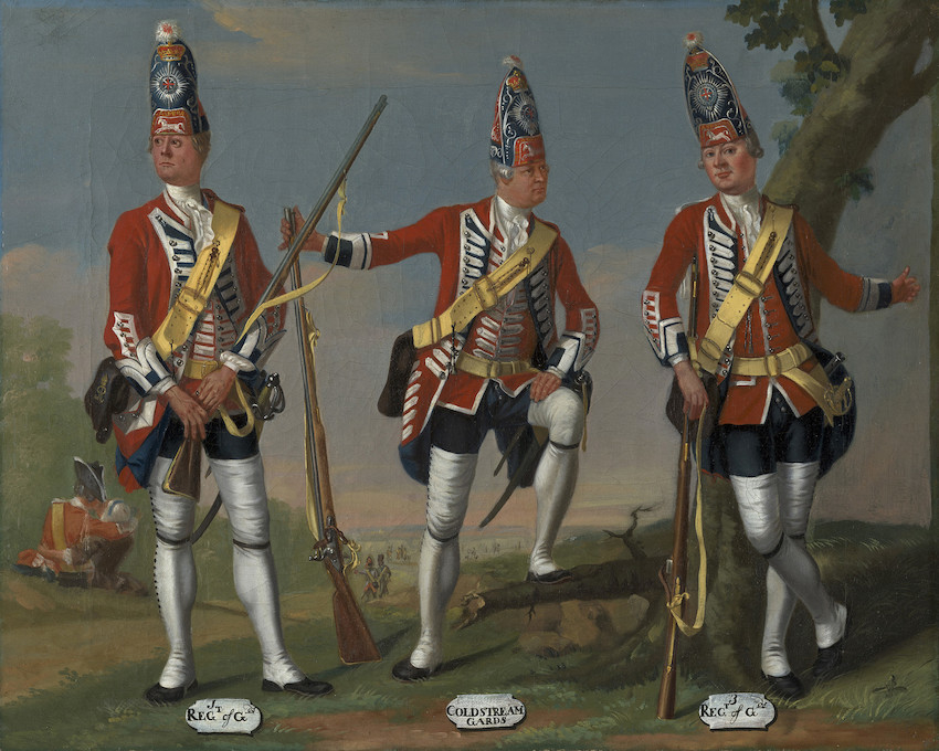 Painting of three soldiers in red uniforms