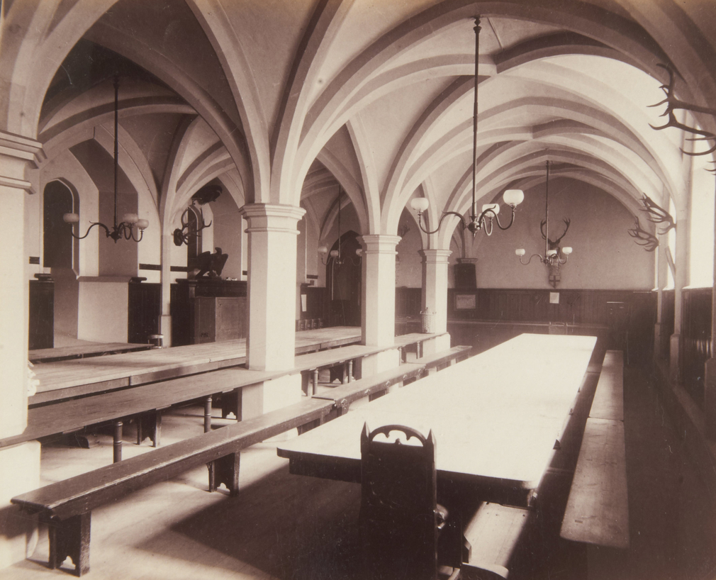 Photograph of the Servants' Hall in the Undercroft, c.1895, unknown photographer.