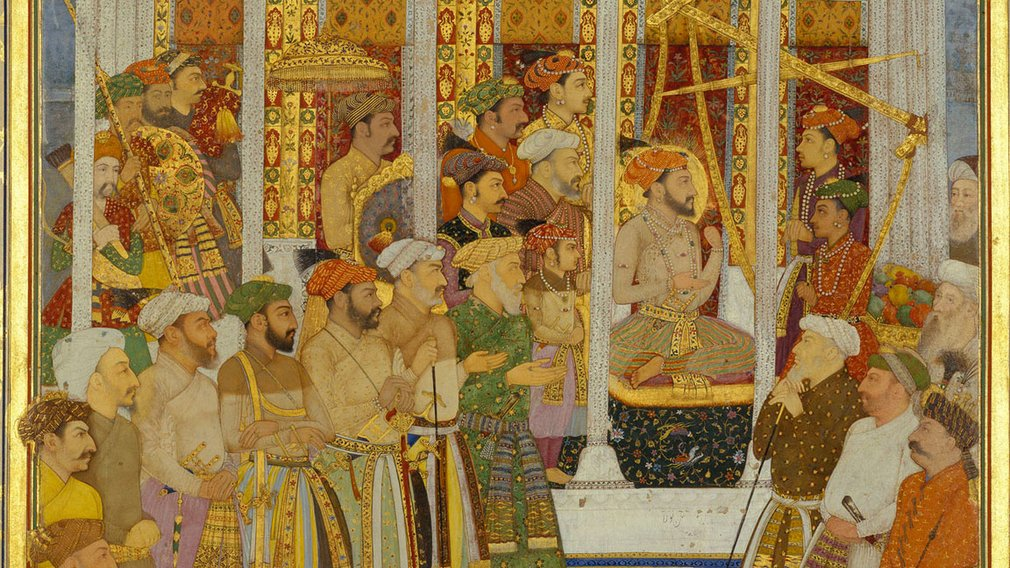 A page from The Padshahnama entitled 'The weighing of Shah-Jahan on his forty-second lunar birthday, 23 October 1632'