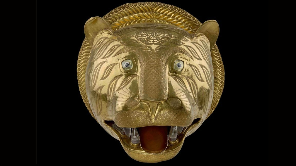 Gold tiger's head from the throne of Tipu Sultan