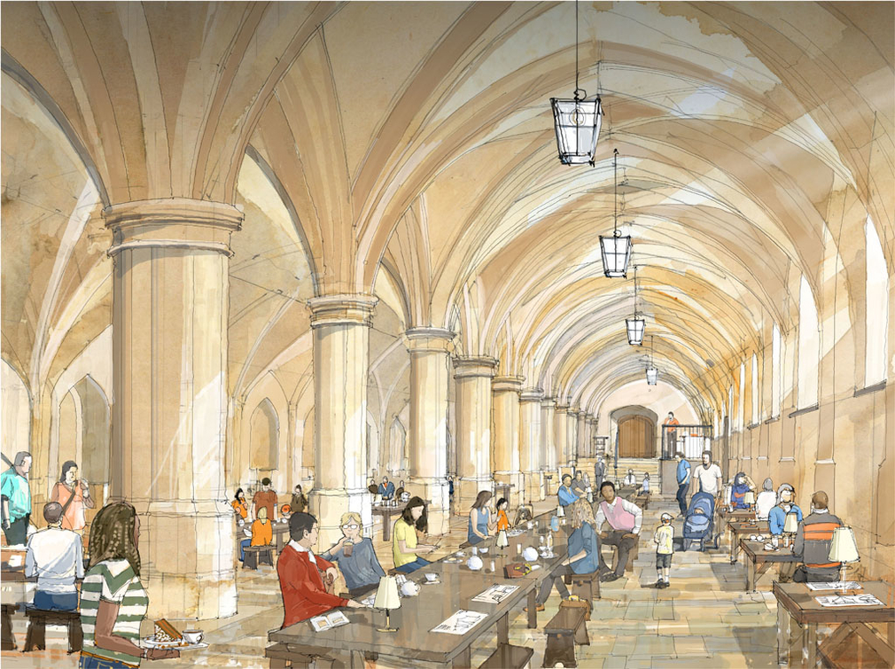 An artist's impression of the new café in the Castle's Undercroft.