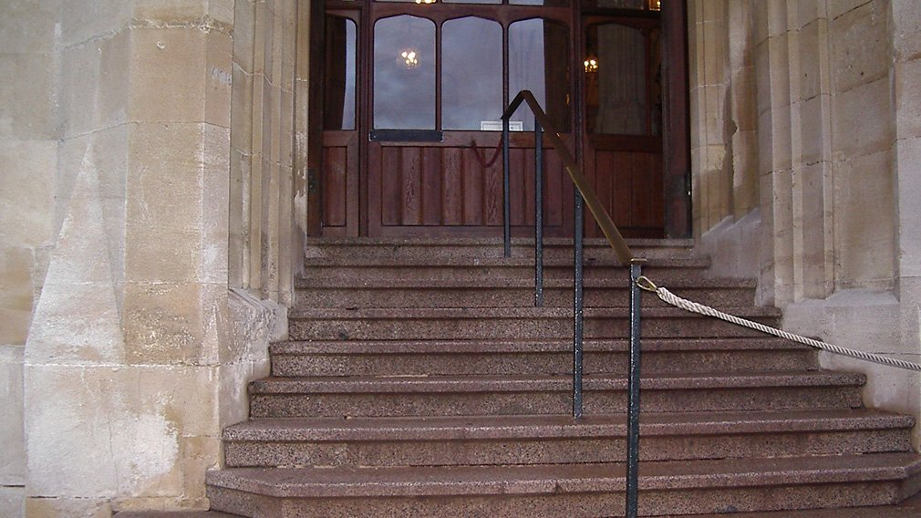 Stone steps in to the building.