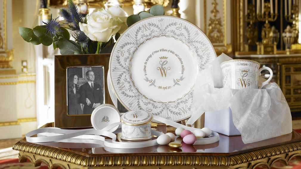 Photograph of the official commemorative range of china launched to mark the Royal Wedding