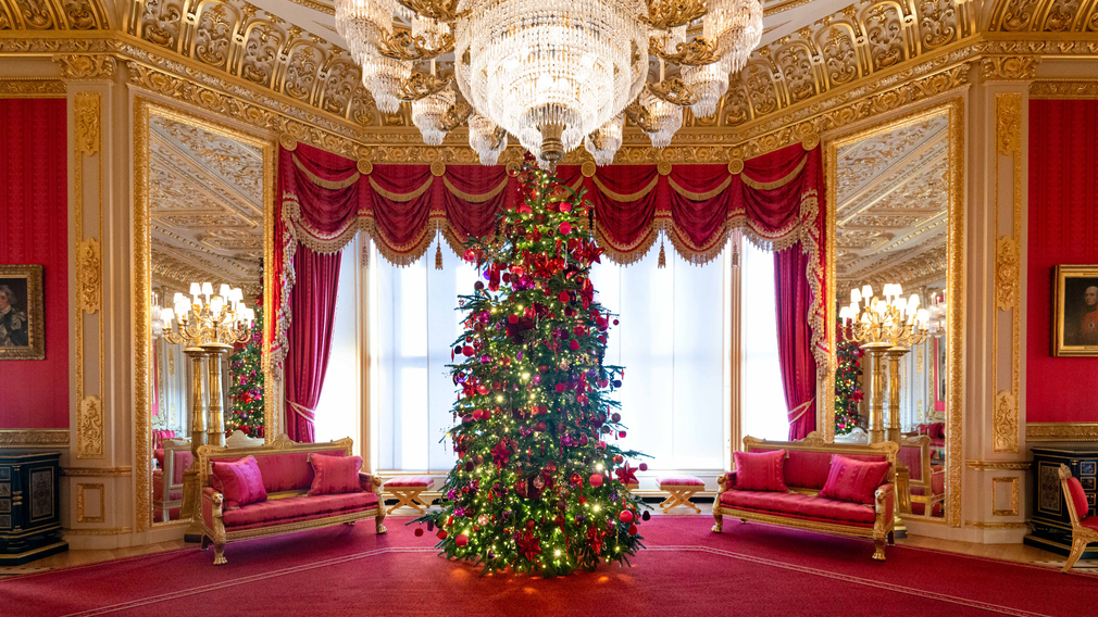Christmas Tree in the Crimson Drawing Room at Windsor Castle