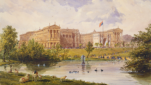 Buckingham Palace in 1846, showing the Marble Arch in the centre of the Forecourt