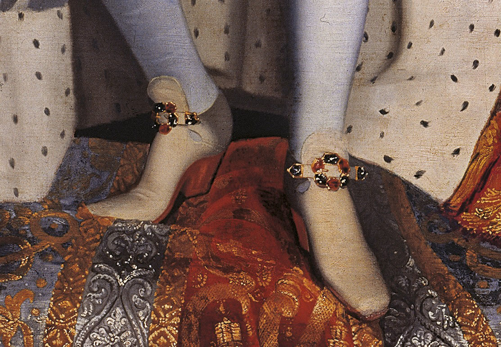 Charles II  - closeup of high heeled buckle shoe