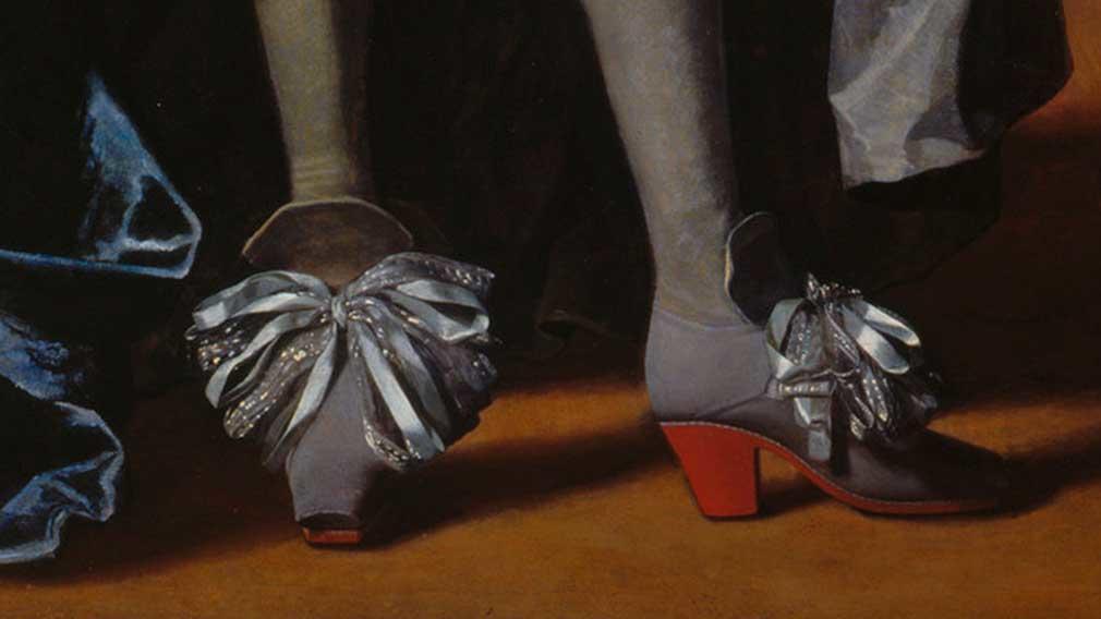 Charles II  - closeup of high heeled ribbon shoe
