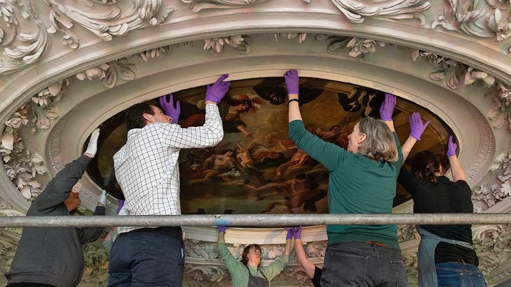 Conservation work on a ceiling painting at the Palace of Holyroodhouse