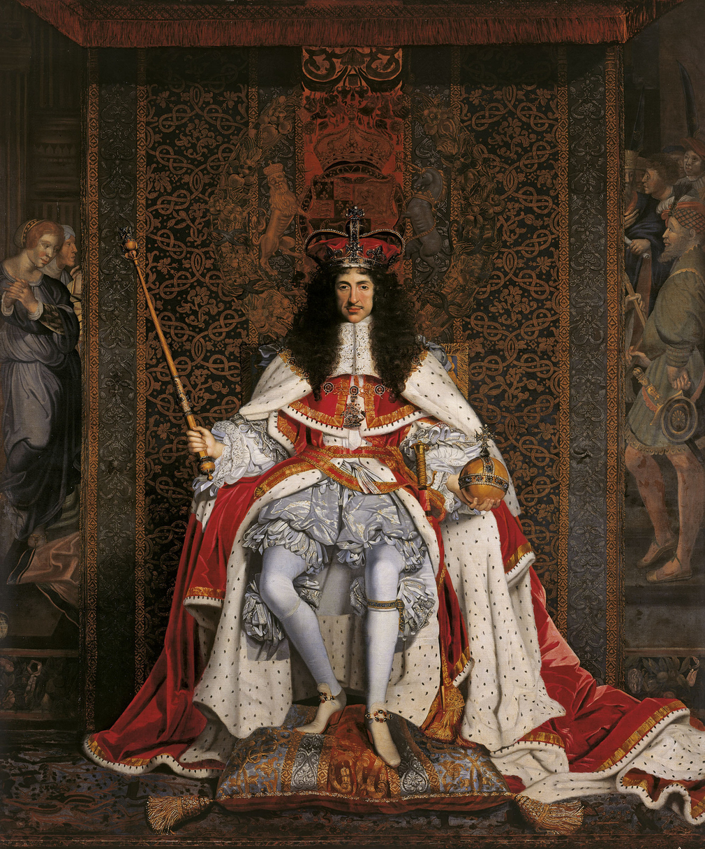 This powerful painting is an outstanding example of the artist's work, as well as an enduring image of monarchy restored. The King wears St Edward's crown, is dressed in parliamentary robes over the Garter costume and carries the new orb and s