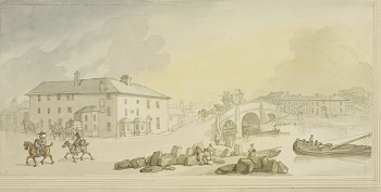 A watercolour of Ferrybridge, on the Great North Road. Coaches on their way to York and further north stopped at Ferrybridge. The artist would have travelled the route on his way to visit his family in Richmond.