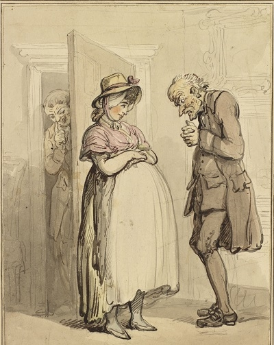 A watercolour of a pregnant woman standing before a tall, soberly dressed man who stands with a bowed head and his hands clasped together. Behind the door that the woman stands in front of, a man, grinning, touches the tip of his nose knowingly.