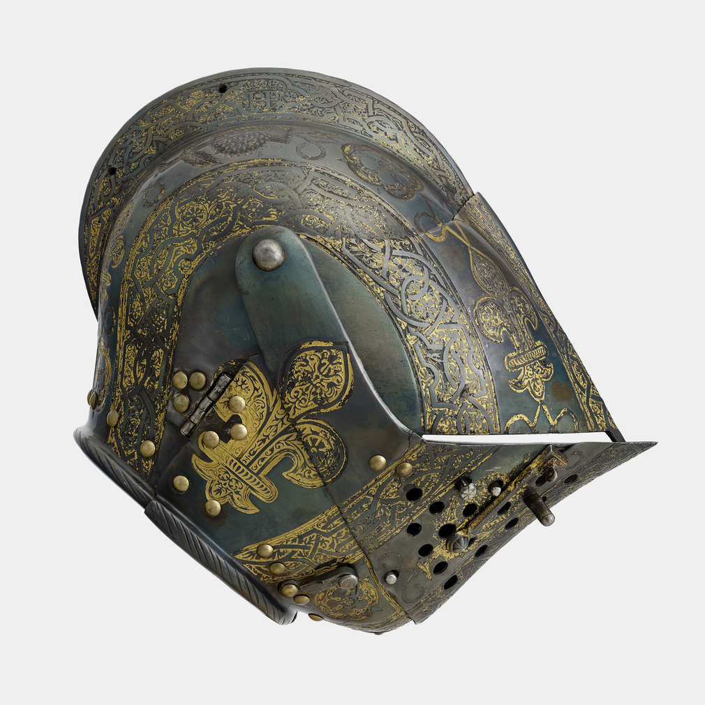 Armour of Henry, future Prince of Wales for the field, tourney, tilt and barriersconsisting of a close helmet with reinforces for the upper and lower bevors, a gorget, a cuirass and tassets, a pair of slightly asymmetrical pauldrons, a pair of vambr