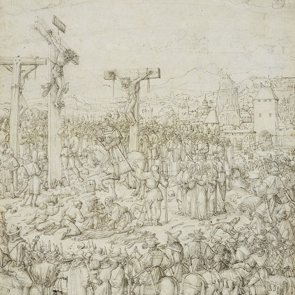 A large drawing of a Crucifixion scene with Christ and the two thieves on their crosses, surrounded by many figures in the landscape.