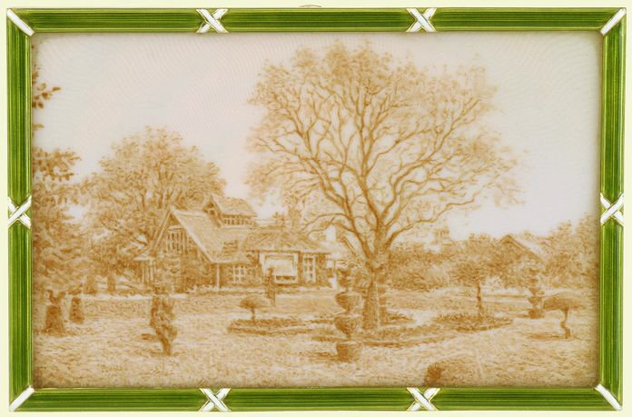 Frame with an enamelled view of Sandringham Dairy, Fabergé, c.1911. RCIN 40495