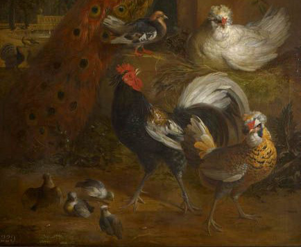 The idea of painting large-scale decorative canvases full of exotic birds in a formal garden setting was invented in Holland by Melchior de Hondecoeter (1636-95, see for example 405354). Bogdani was born in Hungary and moved to Amsterdam in 1684, where Me