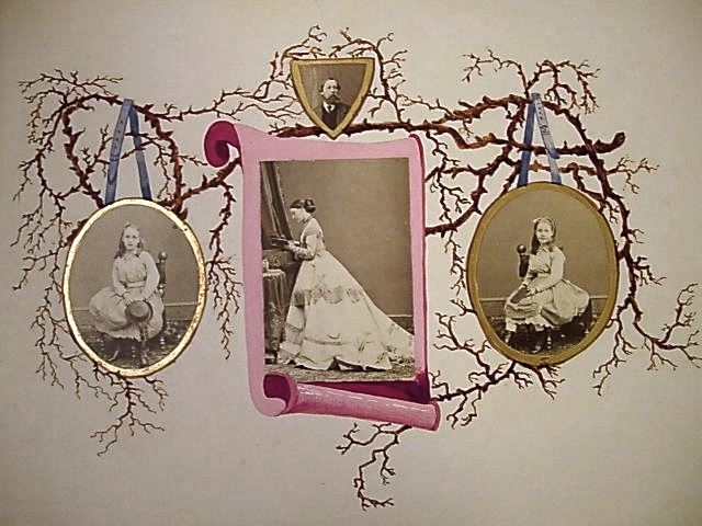 Collage album consisting of albumen photographs arranged and adhered to twenty-nine hand-coloured pages by Queen Alexandra (1844-1925), when Princess Alexandra of Wales. This is one of two similar albums on which the Princess worked in the 1860s, which di