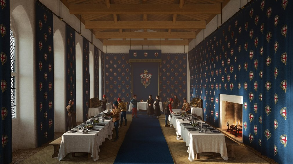 Reconstruction of Edward IV's Great Chamber being prepared for the Garter feast of 1476.