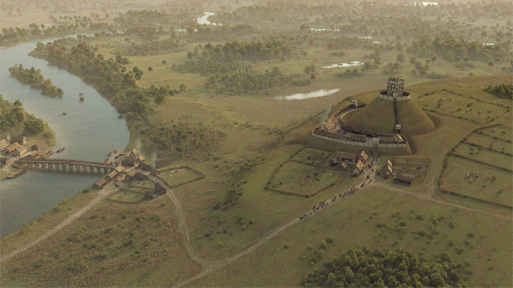 Reconstruction image of Windsor Castle in its earliest form, a motte and bailey castle
