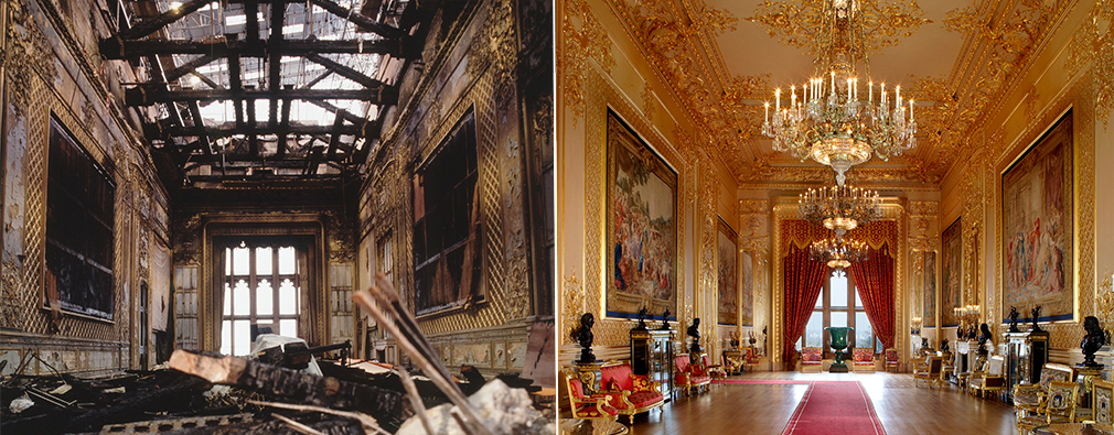 The Grand Reception Room before and after restoration.