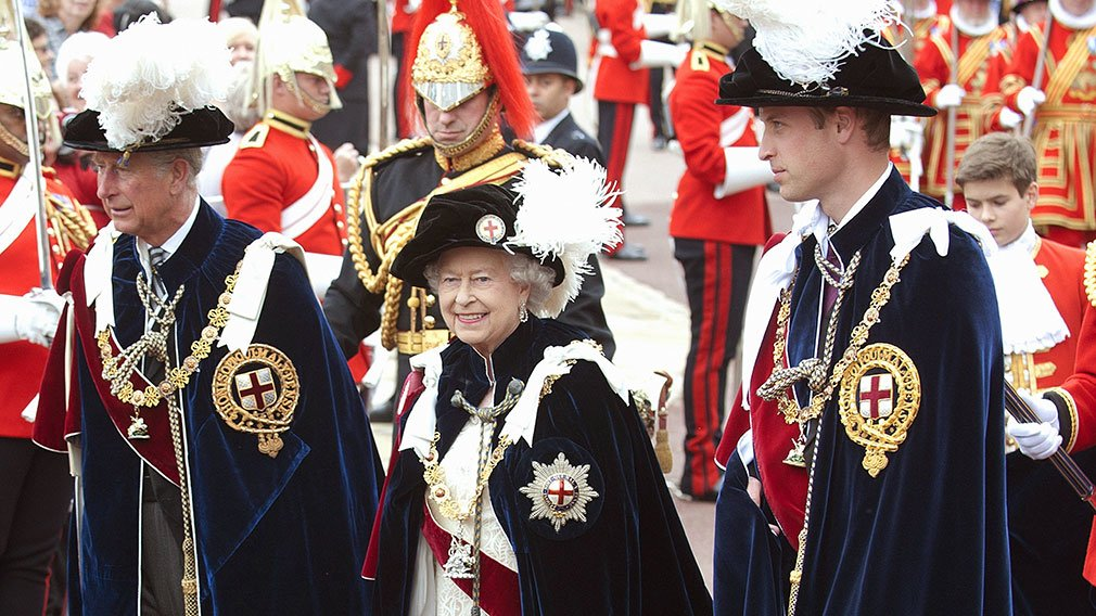 The Queen with The Prince of Wales and The Duke of Cambridge in the annual Garter Ceremony at Windsor Castle.