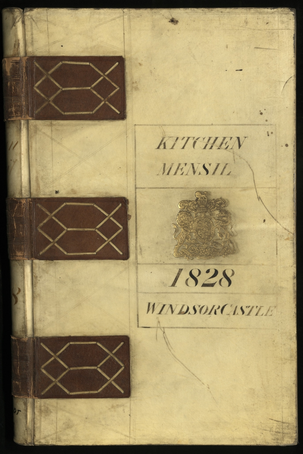 Vellum volume cover entitled Mensil Book