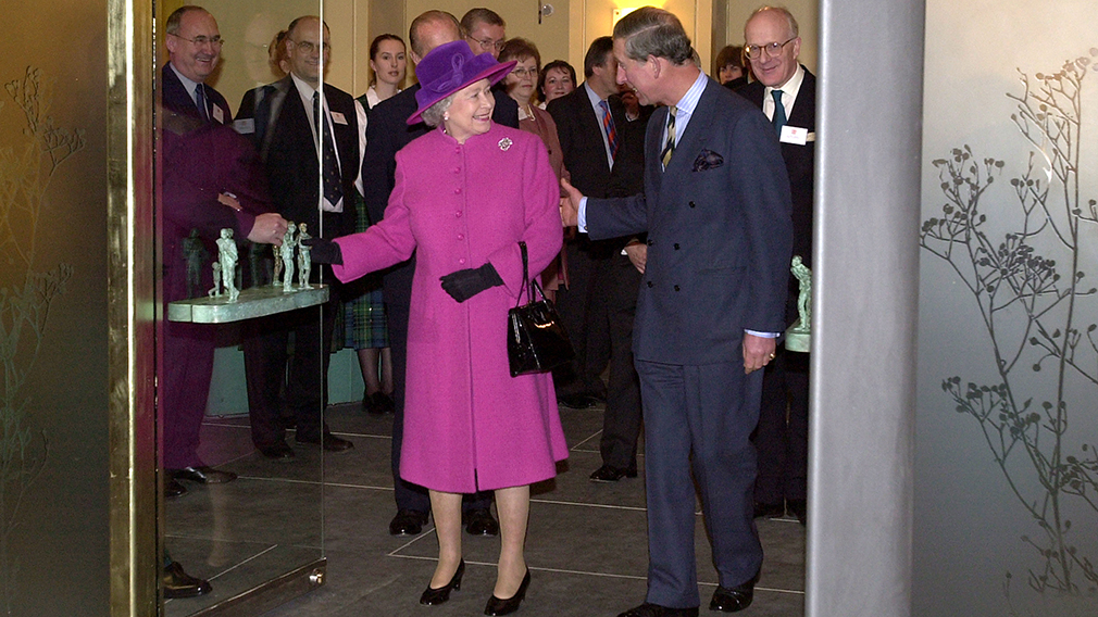 Prince Charles with the Queen at the door of the Queen's gallery at Holyroodhouse in Edinburgh