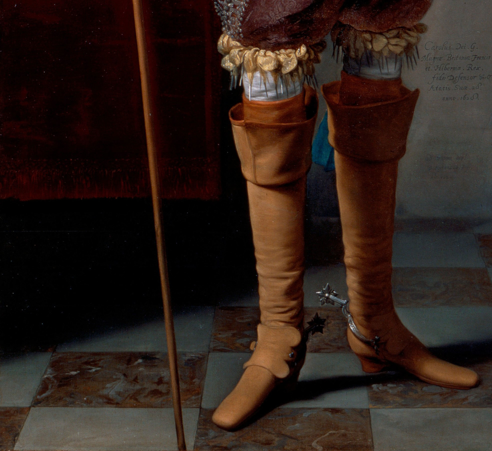 Closeup of riding boots worn by Charles I