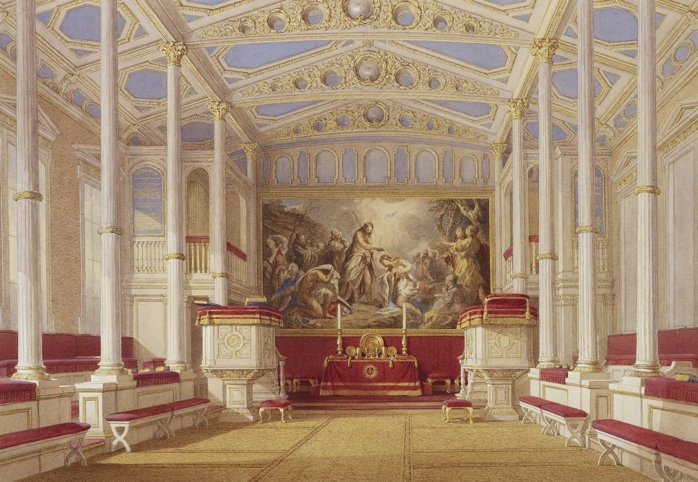 A watercolour depicting a topographical interior view of the Private Chapel at Buckingham Palace. <br> <br>The Chapel was created by Queen Victoria and Prince Albert in 1844 in what had been designed by John Nash as a conservatory. An earlier attempt to p