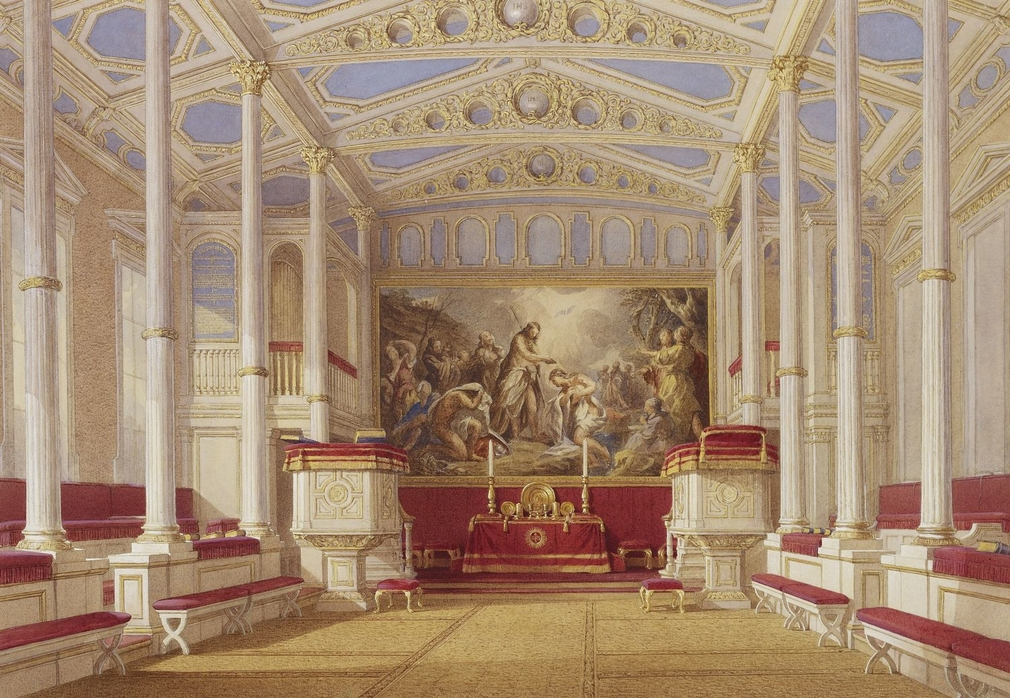 The Chapel was created by Queen Victoria and Prince Albert in 1844 in what had been designed by John Nash as a conservatory.  An earlier attempt to provide Queen Victoria with a chapel in the shell of George III's Octagon Library had proved unsatisfactory