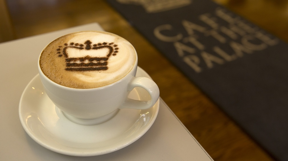 Enjoy a coffee at the Cafe at the Palace
