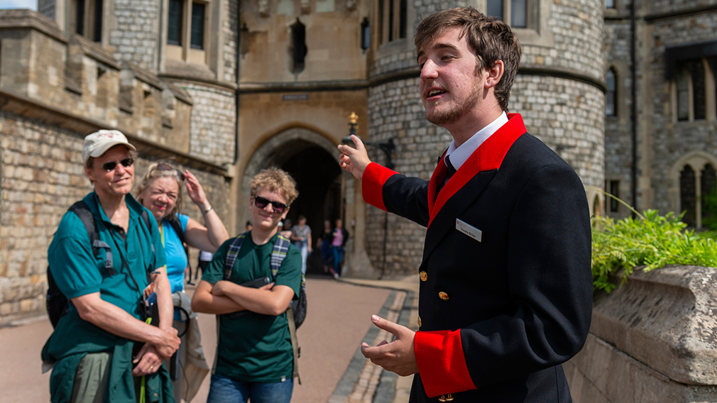 Windsor Castle warden with visitors