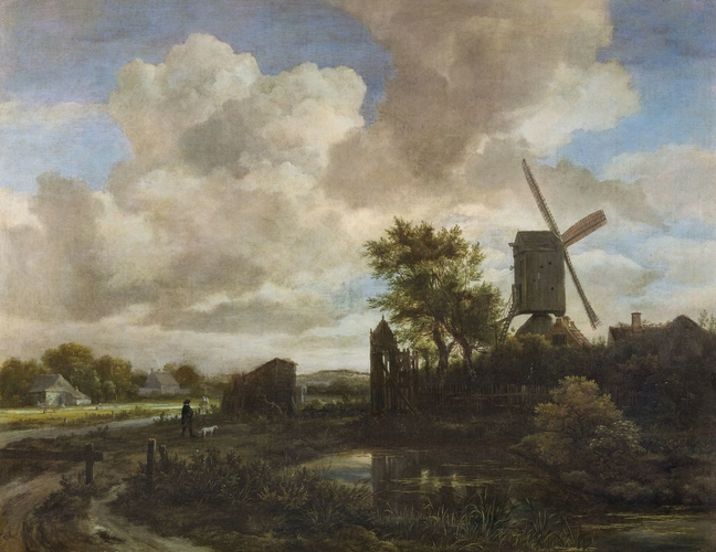 Evening Landscape: a Windmill by a Stream