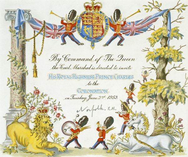 Invitation to His Royal Highness The Prince of Wales, to Attend the Coronation of Her Majesty The Queen, 2 June 1953