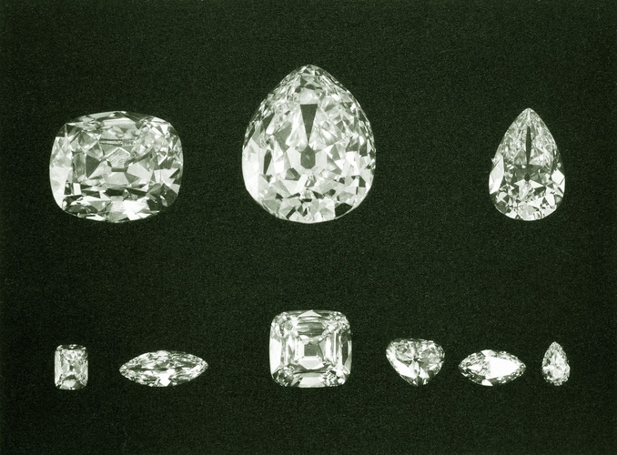 The complete set of nine stones produced from the Cullinan Diamond