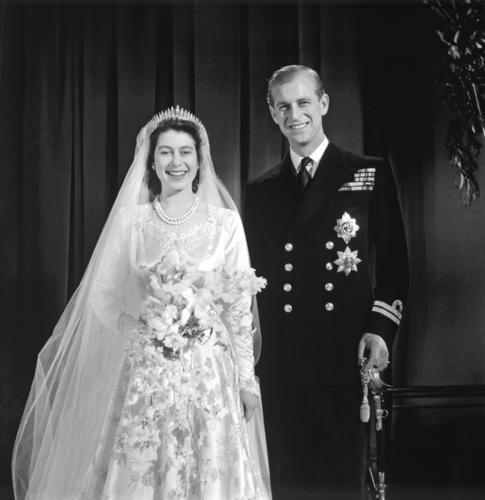 Wedding portrait of HRH Princess Elizabeth and HRH The Duke of Edinburgh