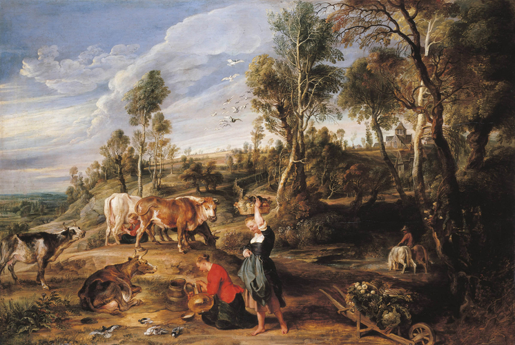 Milkmaids with cattle in a landscape, 'The Farm at Laken'