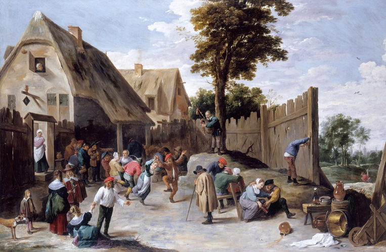 Peasants dancing outside a Tavern