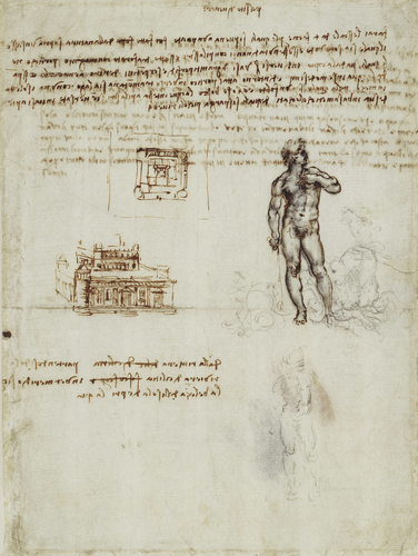 Recto: Designs for a fortress-type palazzo, and for a figure of Neptune. Verso: Notes on Cyprus and the legend of the Sirens