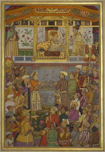 Master: The Padshahnama Item: Jahangir presents Prince Khurram with a turban ornament (12 October 1617)