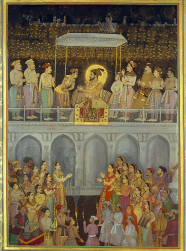Master: The Padshahnama Item: Shah-Jahan honouring Prince Awrangzeb at his wedding (19 May 1637)
