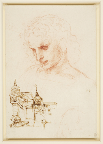 The head of St James in the Last Supper, and architectural sketches