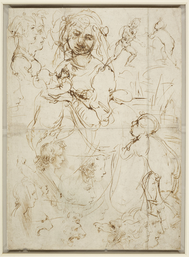 Recto: The Madonna and Child with the infant Baptist, and heads in profile. Verso: Heads in profile