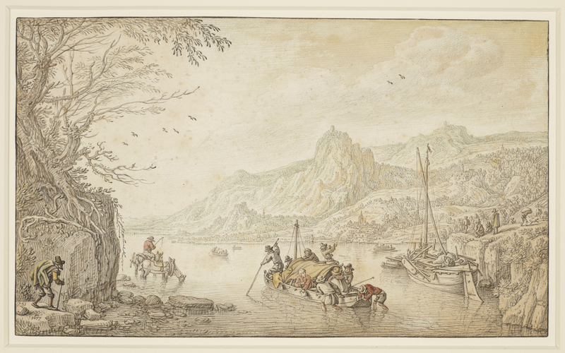 Mountainous river landscape with boats and figures