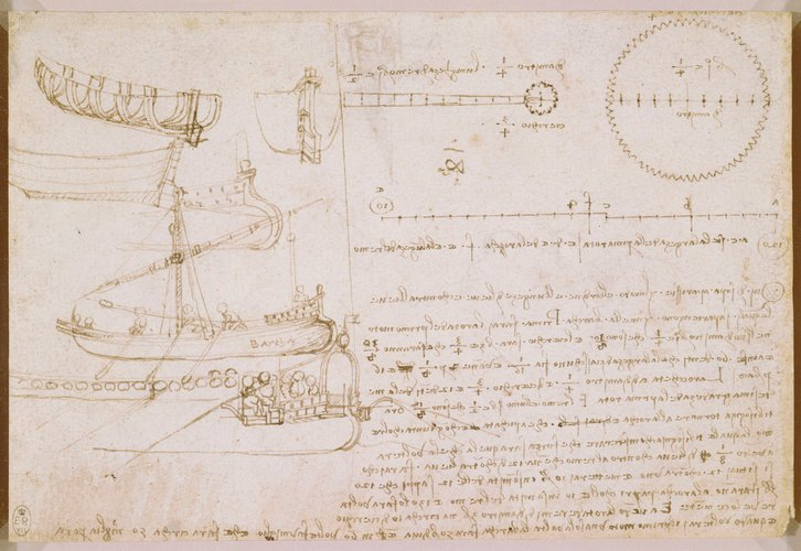 Recto: Studies of ships, and toothed wheels, with notes. Verso: A design for a paddle-boat, and the head of an old man in profile