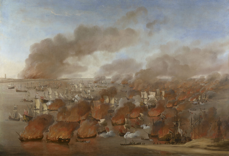 'Holmes's Bonfire', the burning of Dutch Merchant Ships between Terschelling and Vlieland, 19th August 1666